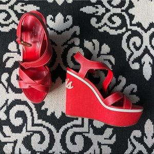 Red Louis Vuitton Wedges